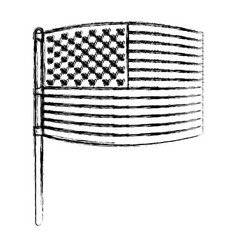 Flag united states of america in pole waving out vector