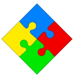 Four colored puzzle together vector image