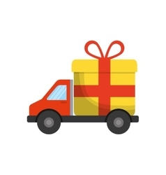 Gift truck present bowtie red ribbon icon vector