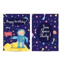 Happy Birthday Cartoon Greeting Cards Set vector image vector image