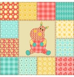 Hippopotamus patchwork pattern vector image vector image