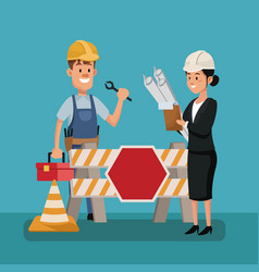 Labor day people boss worker construction vector
