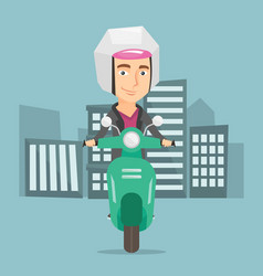 Man riding scooter in the city vector