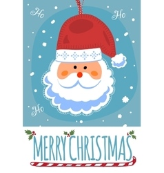 Merry christmas post card with santa clause vector