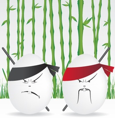 Ninja eggs and bamboo forest vector image