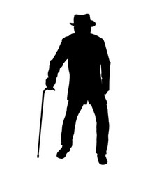 Old man silhouette vector