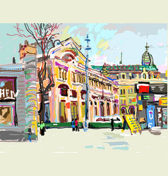 Plein air digital painting of cityscape - kiev vector