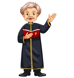 Priest preaching from bible vector image