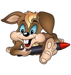 rabbit and wax crayon vector image vector image