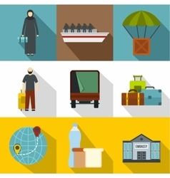 Refugee status icons set flat style vector