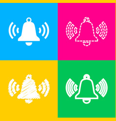 Ringing bell icon four styles of icon on four vector