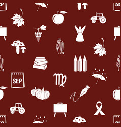 september month theme set of icons red pattern vector image