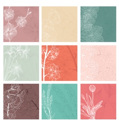 set of 9 floral invitations vector image vector image