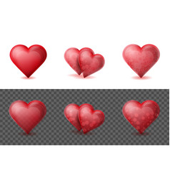 set of realistic valentine hearts elements on the vector image vector image