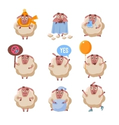 Sheep cartoon character set vector