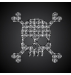 Silver sequins skull jolly roger vector