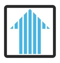 Stripe arrow up framed icon vector
