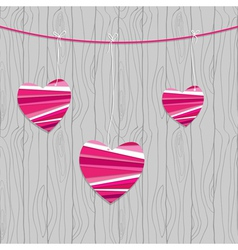 valentine card with hearts on the wood vector image vector image