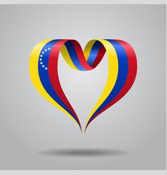 venezuelan flag heart-shaped ribbon vector image