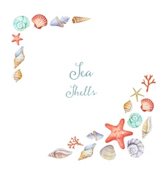 Watercolor corners of the frame with sea shells vector