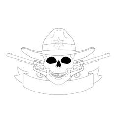 Wild west sheriff emblem Contour vector image vector image