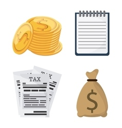 Icon set tax and financial item graphic vector