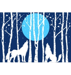 Howling wolf with birch trees vector