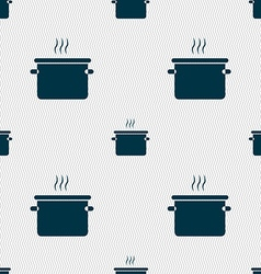 Pan cooking icon sign seamless pattern with vector