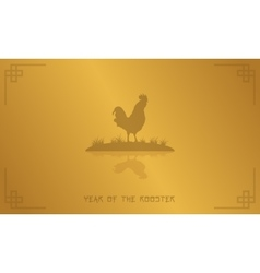 Silhouette of rooster on gold backgrounds vector image