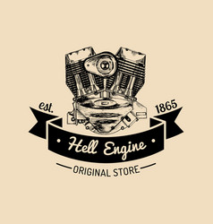 hell engine vintage motorcycle logo biker vector image
