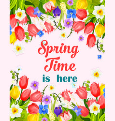 Spring time flowers greeting card vector