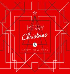Merry christmas happy new year tree art deco line vector
