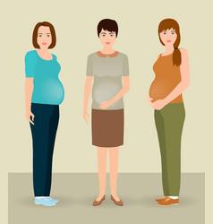 Happy pregnancy concept group of three pregnant vector