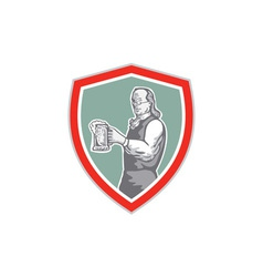 Benjamin Franklin Holding Beer Shield Retro vector image