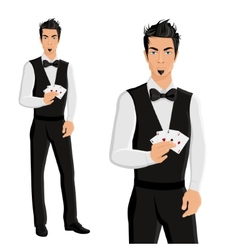 Man casino dealer portrait vector