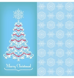 Greeting card with christmass tree blue vector