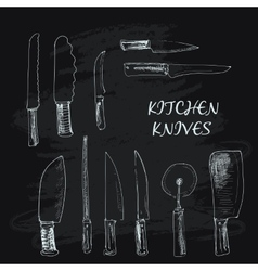 Collection of kitchen knives vector
