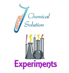 Chemical flasks and test tubes logo vector image