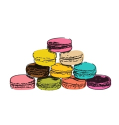 Sweet tasty drawn macaroons isolated on white vector