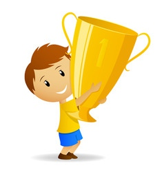 Cartoon young winner with golden trophy cup vector