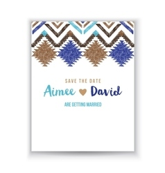 Save the date card with tribal ornaments vector