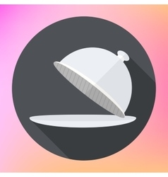 Restaurant cloche icon flat vector