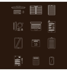 Work table icons stroke vector
