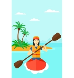 Woman riding in canoe vector