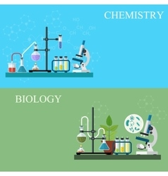 Biology and chemistry laboratory workspace vector