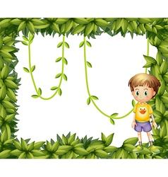 A child on a leafy frame vector