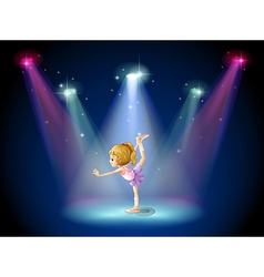A girl performing ballet on the stage with vector image vector image