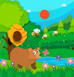 Bear and bees in the forest vector image
