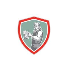 Benjamin Franklin Holding Beer Shield Retro vector image