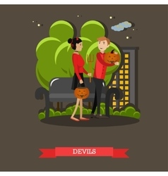 Couple in devils costume happy halloween holiday vector